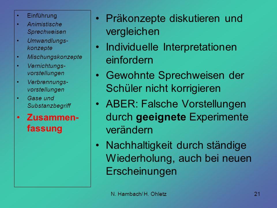 N. Hambach/ H. Ohletz21 Präkonzepte diskutieren und vergleichen Individuelle Interpretationen einfordern Gewohnte Sprechweisen der Schüler nicht korri