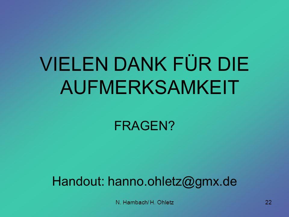N. Hambach/ H. Ohletz22 VIELEN DANK FÜR DIE AUFMERKSAMKEIT FRAGEN? Handout: hanno.ohletz@gmx.de