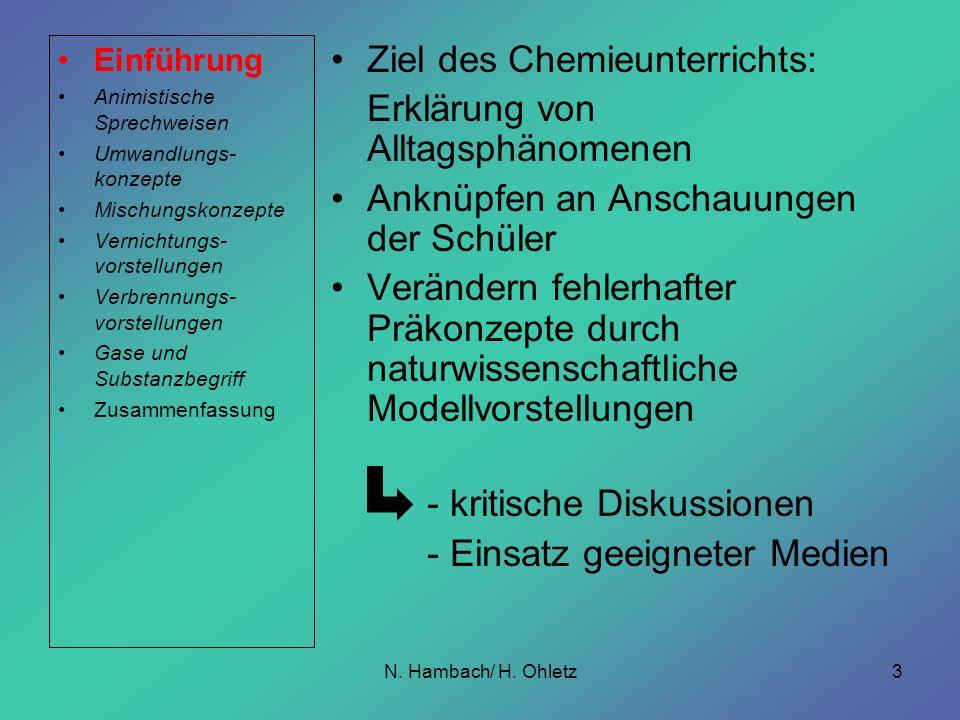 N. Hambach/ H. Ohletz3 Ziel des Chemieunterrichts: Erklärung von Alltagsphänomenen Anknüpfen an Anschauungen der Schüler Verändern fehlerhafter Präkon