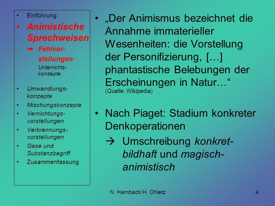 N. Hambach/ H. Ohletz4 Der Animismus bezeichnet die Annahme immaterieller Wesenheiten: die Vorstellung der Personifizierung, […] phantastische Belebun
