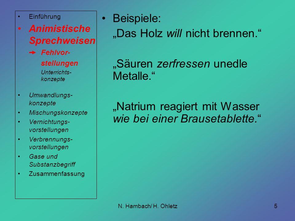 N. Hambach/ H. Ohletz5 Beispiele: Das Holz will nicht brennen. Säuren zerfressen unedle Metalle. Natrium reagiert mit Wasser wie bei einer Brausetable