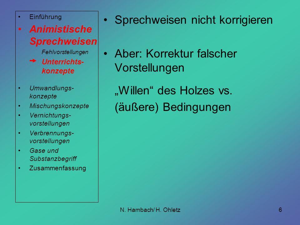 N. Hambach/ H. Ohletz6 Sprechweisen nicht korrigieren Aber: Korrektur falscher Vorstellungen Willen des Holzes vs. (äußere) Bedingungen Einführung Ani