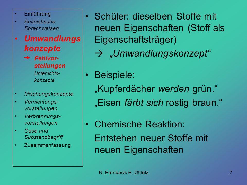 N. Hambach/ H. Ohletz7 Schüler: dieselben Stoffe mit neuen Eigenschaften (Stoff als Eigenschaftsträger) Umwandlungskonzept Beispiele: Kupferdächer wer
