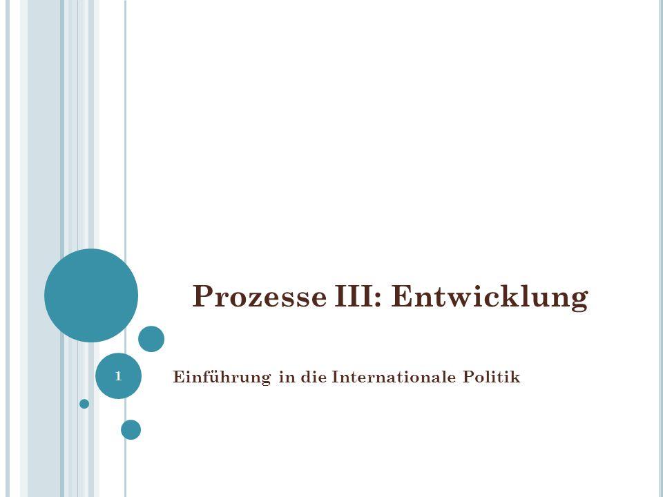 Prozesse III: Entwicklung Einführung in die Internationale Politik 1
