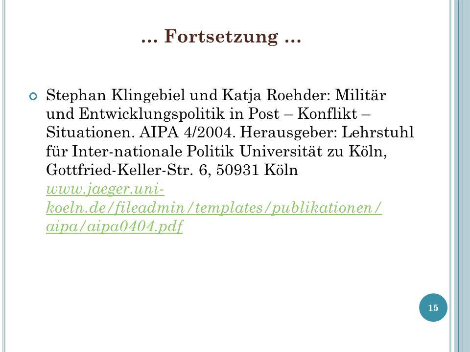 … Fortsetzung … Stephan Klingebiel und Katja Roehder: Militär und Entwicklungspolitik in Post – Konflikt – Situationen. AIPA 4/2004. Herausgeber: Lehr