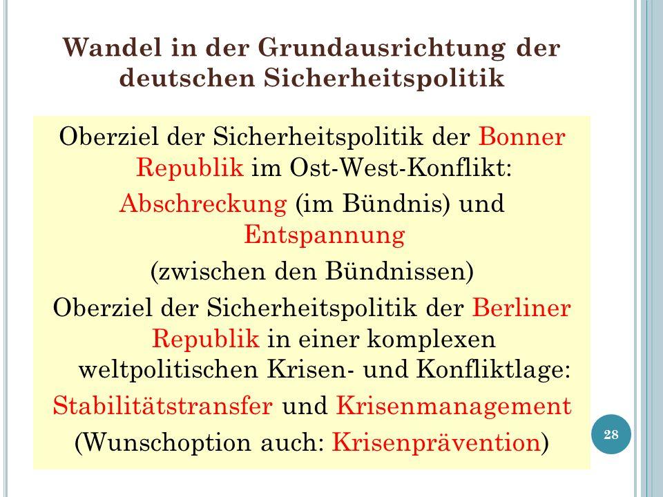 Wandel in der Grundausrichtung der deutschen Sicherheitspolitik Oberziel der Sicherheitspolitik der Bonner Republik im Ost-West-Konflikt: Abschreckung