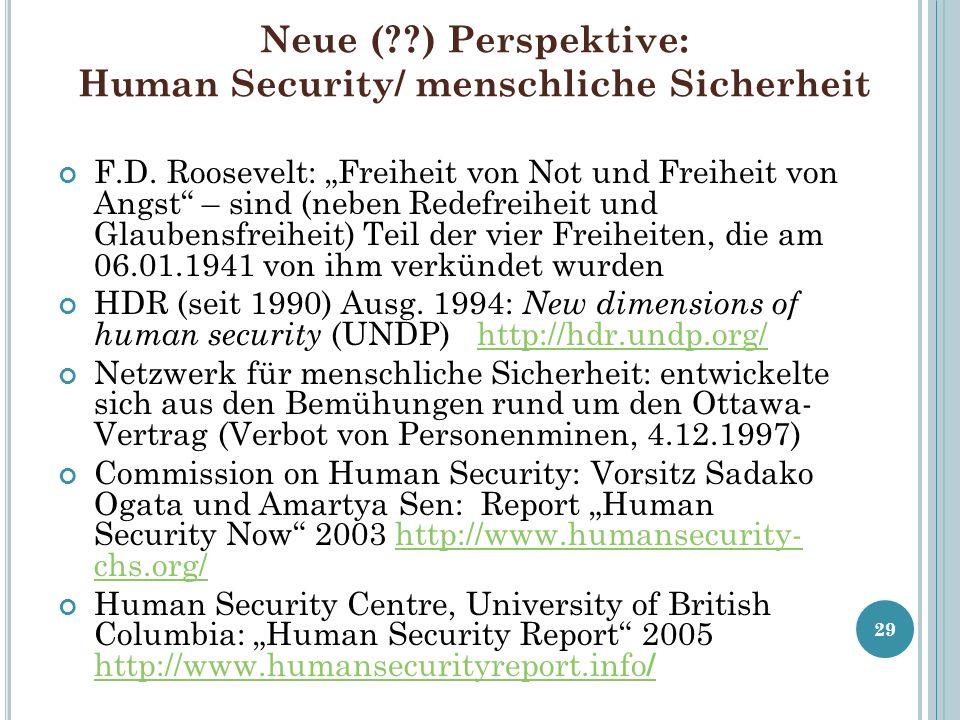 Neue (??) Perspektive: Human Security/ menschliche Sicherheit F.D. Roosevelt: Freiheit von Not und Freiheit von Angst – sind (neben Redefreiheit und G