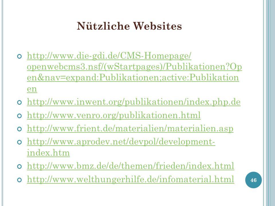 Nützliche Websites http://www.die-gdi.de/CMS-Homepage/ openwebcms3.nsf/(wStartpages)/Publikationen?Op en&nav=expand:Publikationen;active:Publikation e