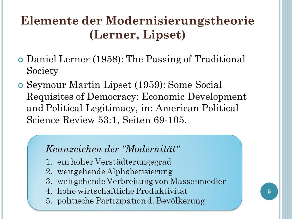 Elemente der Modernisierungstheorie (Lerner, Lipset) Daniel Lerner (1958): The Passing of Traditional Society Seymour Martin Lipset (1959): Some Socia