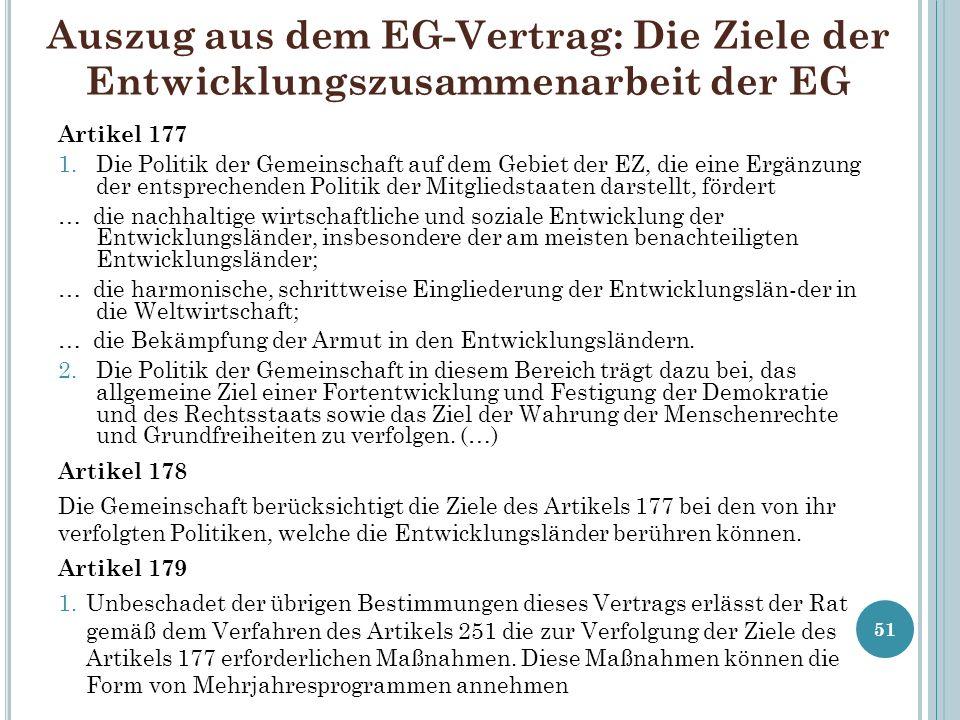 Auszug aus dem EG-Vertrag: Die Ziele der Entwicklungszusammenarbeit der EG Artikel 177 1.Die Politik der Gemeinschaft auf dem Gebiet der EZ, die eine