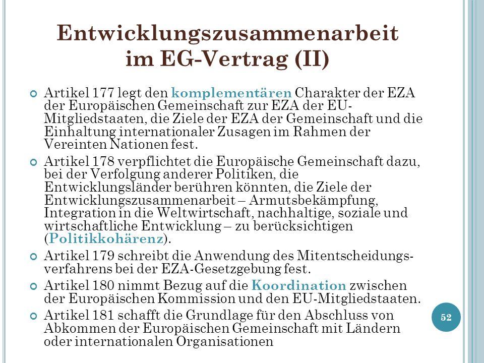 Entwicklungszusammenarbeit im EG-Vertrag (II) Artikel 177 legt den komplementären Charakter der EZA der Europäischen Gemeinschaft zur EZA der EU- Mitg