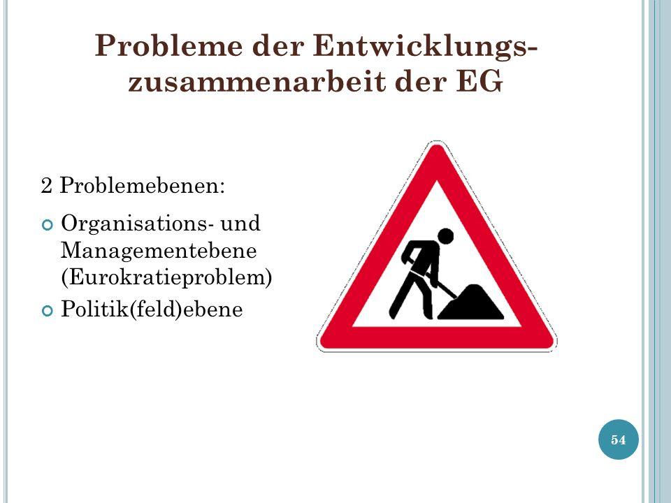 Probleme der Entwicklungs- zusammenarbeit der EG 2 Problemebenen: Organisations- und Managementebene (Eurokratieproblem) Politik(feld)ebene 54