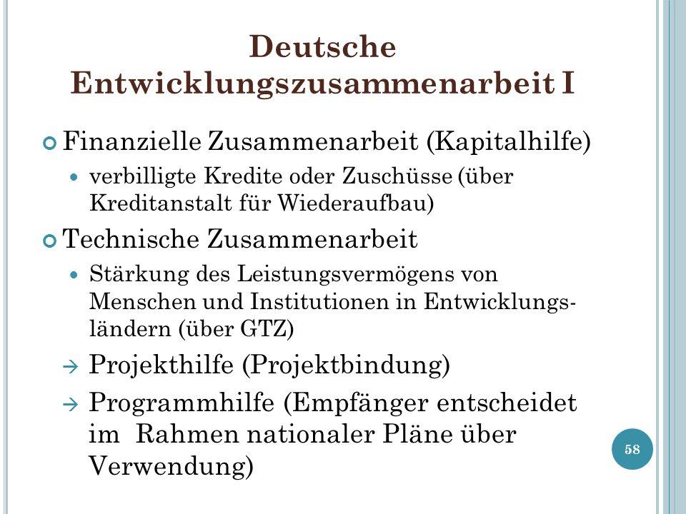 Deutsche Entwicklungszusammenarbeit I Finanzielle Zusammenarbeit (Kapitalhilfe) verbilligte Kredite oder Zuschüsse (über Kreditanstalt für Wiederaufba