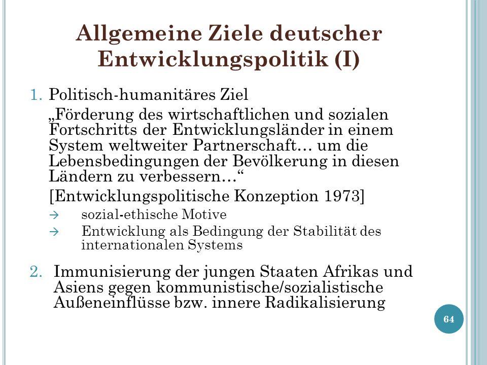 Allgemeine Ziele deutscher Entwicklungspolitik (I) 1.Politisch-humanitäres Ziel Förderung des wirtschaftlichen und sozialen Fortschritts der Entwicklu