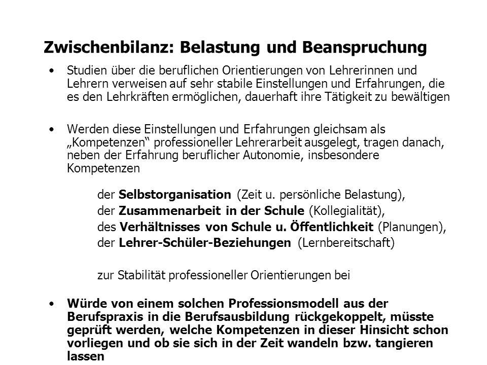 Exkurs: Valide Professionsmodelle (Gehrmann 2003) AutonomieKorrekturzeit Berufszufriedenheit (MR 2.25) r 2 =.09r 2 =.18 r 2 =.21 Lernbereitschaft r 2