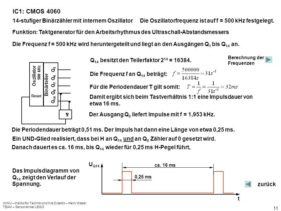 WWU – Institut für Technik und ihre Didaktik – Hein/ Weber TEAM – Sensoren bei LEGO 11 IC1: CMOS 4060 14-stufiger Binärzähler mit internem OszillatorD