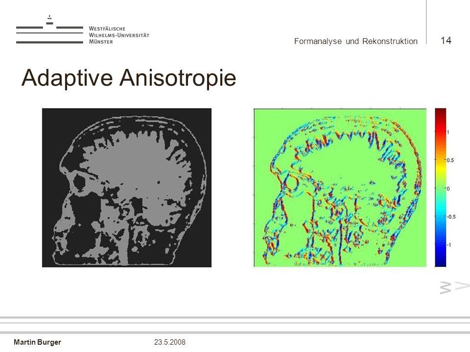 Martin Burger Formanalyse und Rekonstruktion 14 23.5.2008 Adaptive Anisotropie