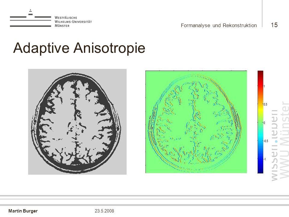 Martin Burger Formanalyse und Rekonstruktion 15 23.5.2008 Adaptive Anisotropie