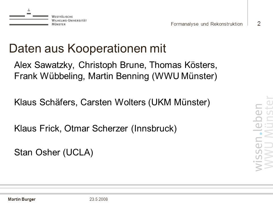 Martin Burger Formanalyse und Rekonstruktion 2 23.5.2008 Daten aus Kooperationen mit Alex Sawatzky, Christoph Brune, Thomas Kösters, Frank Wübbeling,