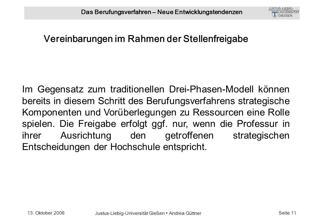 13. Oktober 2006 Justus-Liebig-Universität Gießen Andrea Güttner Das Berufungsverfahren – Neue Entwicklungstendenzen Seite 11 Im Gegensatz zum traditi