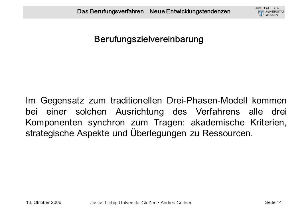 13. Oktober 2006 Justus-Liebig-Universität Gießen Andrea Güttner Das Berufungsverfahren – Neue Entwicklungstendenzen Seite 14 Berufungszielvereinbarun