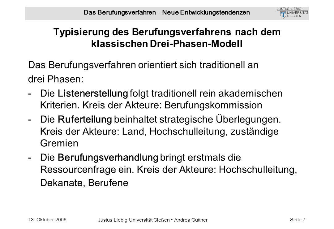 13. Oktober 2006 Justus-Liebig-Universität Gießen Andrea Güttner Das Berufungsverfahren – Neue Entwicklungstendenzen Seite 7 Typisierung des Berufungs