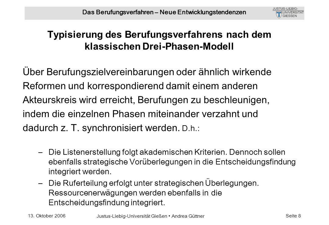 13. Oktober 2006 Justus-Liebig-Universität Gießen Andrea Güttner Das Berufungsverfahren – Neue Entwicklungstendenzen Seite 8 Typisierung des Berufungs