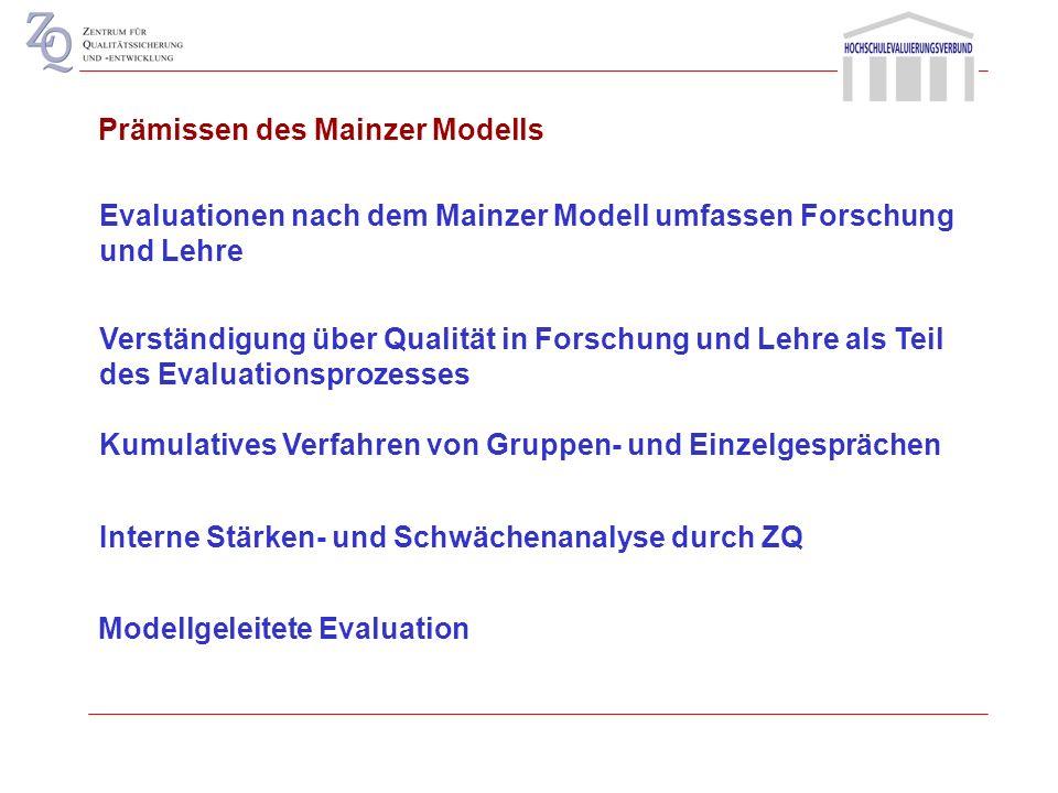Evaluation ist unmittelbar verbunden mit Prozessen der Hochschulentwicklung und Hochschulsteuerung Prämissen des Mainzer Modells Steuerungs- und Evalu