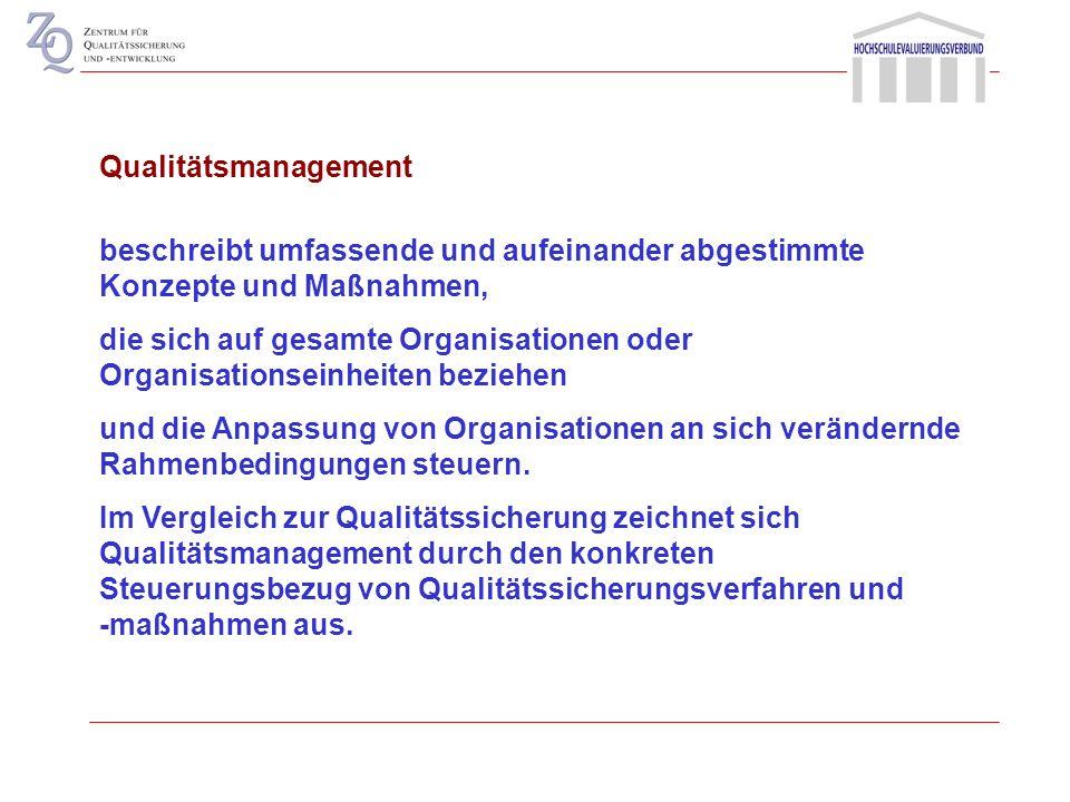 1. Qualitätsmanagement und Qualitätssicherung: Begriffe und Prämissen 2. Instrumente der Steuerung und Qualitätssicherung 3. Qualitätsmanagement an de