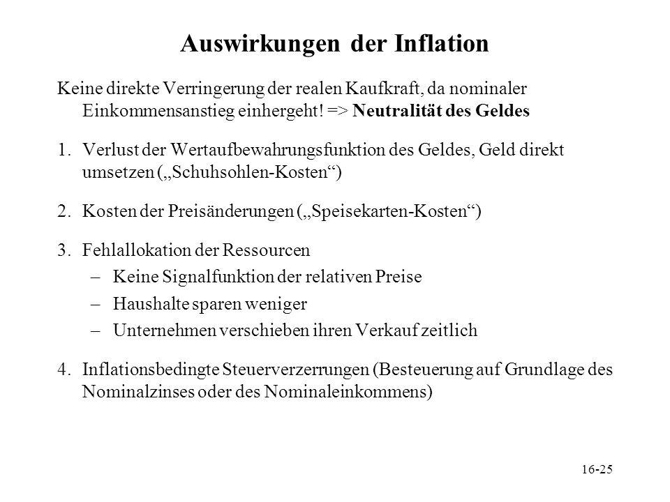 16-25 Auswirkungen der Inflation Keine direkte Verringerung der realen Kaufkraft, da nominaler Einkommensanstieg einhergeht! => Neutralität des Geldes
