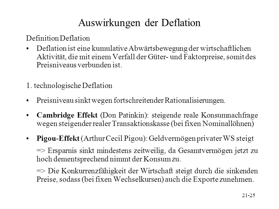 21-25 Auswirkungen der Deflation Definition Deflation Deflation ist eine kumulative Abwärtsbewegung der wirtschaftlichen Aktivität, die mit einem Verf