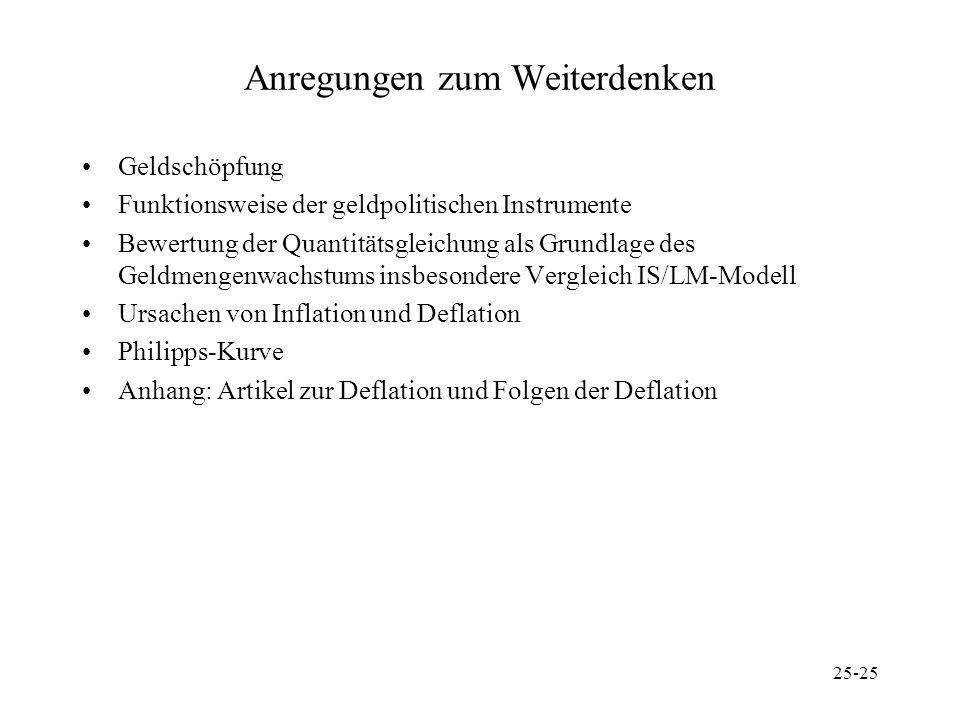 25-25 Anregungen zum Weiterdenken Geldschöpfung Funktionsweise der geldpolitischen Instrumente Bewertung der Quantitätsgleichung als Grundlage des Gel