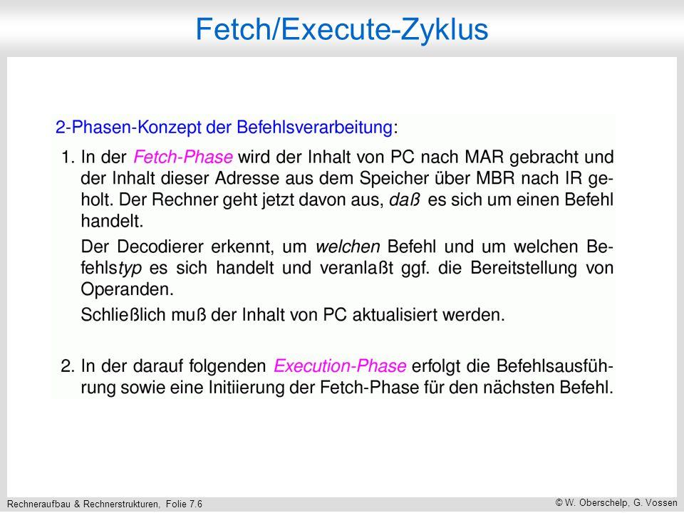 Rechneraufbau & Rechnerstrukturen, Folie 7.6 © W. Oberschelp, G. Vossen Fetch/Execute-Zyklus