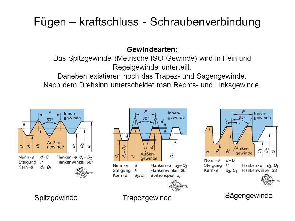 Fügen – kraftschluss - Schraubenverbindung Gewindearten: Das Spitzgewinde (Metrische ISO-Gewinde) wird in Fein und Regelgewinde unterteilt. Daneben ex