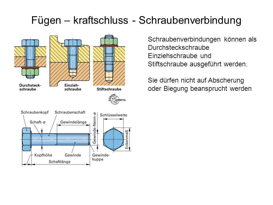 Fügen – kraftschluss - Schraubenverbindung Schraubenverbindungen können als Durchsteckschraube Einziehschraube und Stiftschraube ausgeführt werden. Si