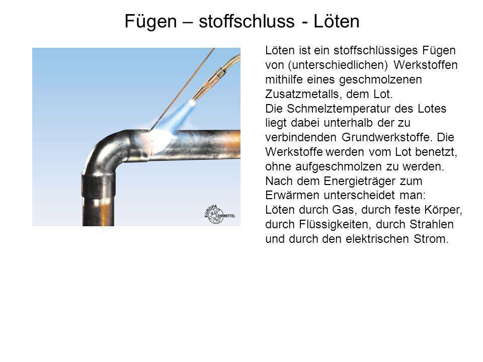 Fügen – stoffschluss - Löten Löten ist ein stoffschlüssiges Fügen von (unterschiedlichen) Werkstoffen mithilfe eines geschmolzenen Zusatzmetalls, dem