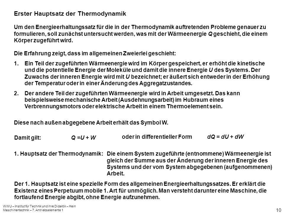 WWU – Institut für Technik und ihre Didaktik – Hein Maschinentechnik – 7. Antriebselemente 1 10 Erster Hauptsatz der Thermodynamik Um den Energieerhal