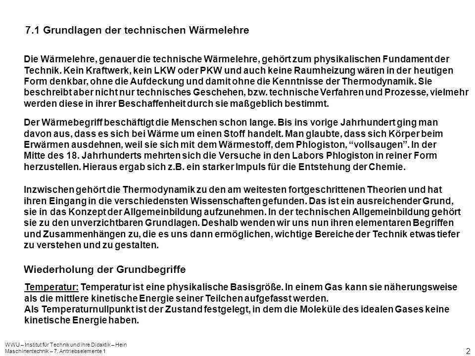 WWU – Institut für Technik und ihre Didaktik – Hein Maschinentechnik – 7. Antriebselemente 1 2 7.1 Grundlagen der technischen Wärmelehre Die Wärmelehr