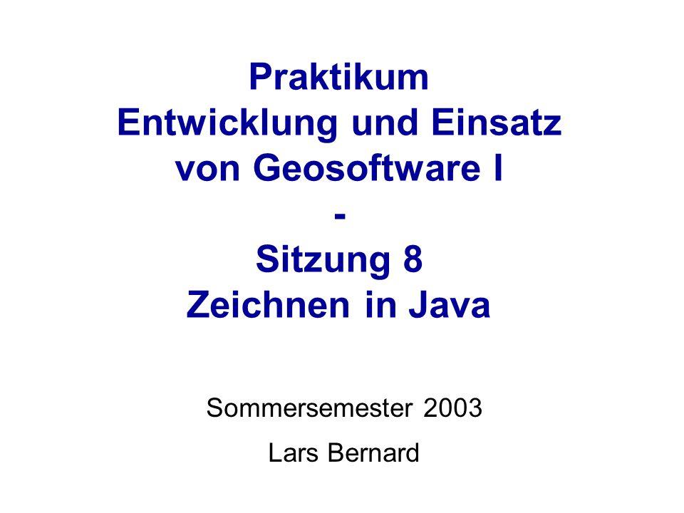 Praktikum Entwicklung und Einsatz von Geosoftware I - Sitzung 8 Zeichnen in Java Sommersemester 2003 Lars Bernard