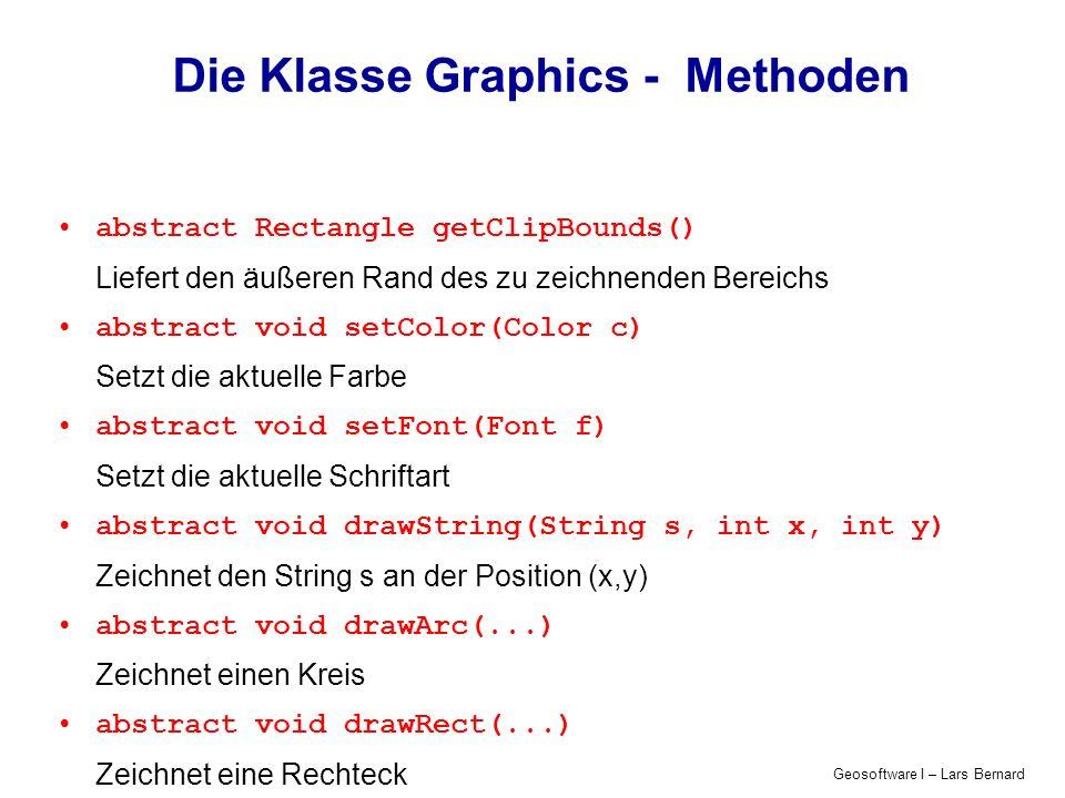 Geosoftware I – Lars Bernard Die Klasse Graphics - Methoden abstract Rectangle getClipBounds() Liefert den äußeren Rand des zu zeichnenden Bereichs ab