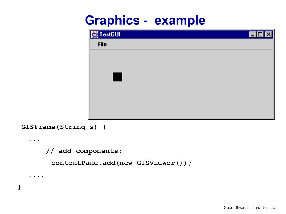 Geosoftware I – Lars Bernard Graphics - example GISFrame(String s) {... // add components: contentPane.add(new GISViewer());.... }
