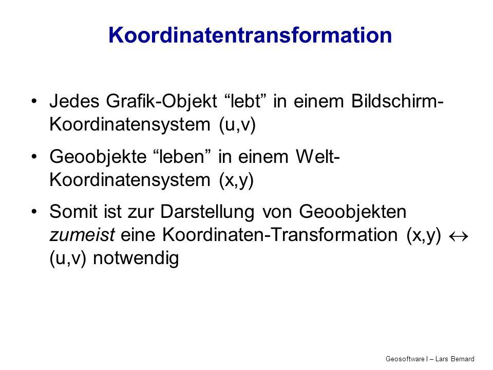Geosoftware I – Lars Bernard Koordinatentransformation Jedes Grafik-Objekt lebt in einem Bildschirm- Koordinatensystem (u,v) Geoobjekte leben in einem