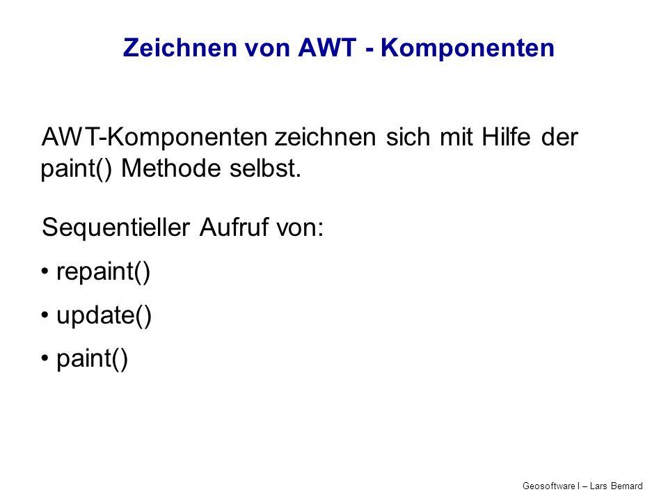 Geosoftware I – Lars Bernard Zeichnen von AWT - Komponenten Component.repaint() Aufruf wenn das Fenster (Container) verschoben wird die Größe des Containers verändert wird ein verdeckter Teil des Container-Inhaltes wieder frei gegeben (sichtbar) wird […]