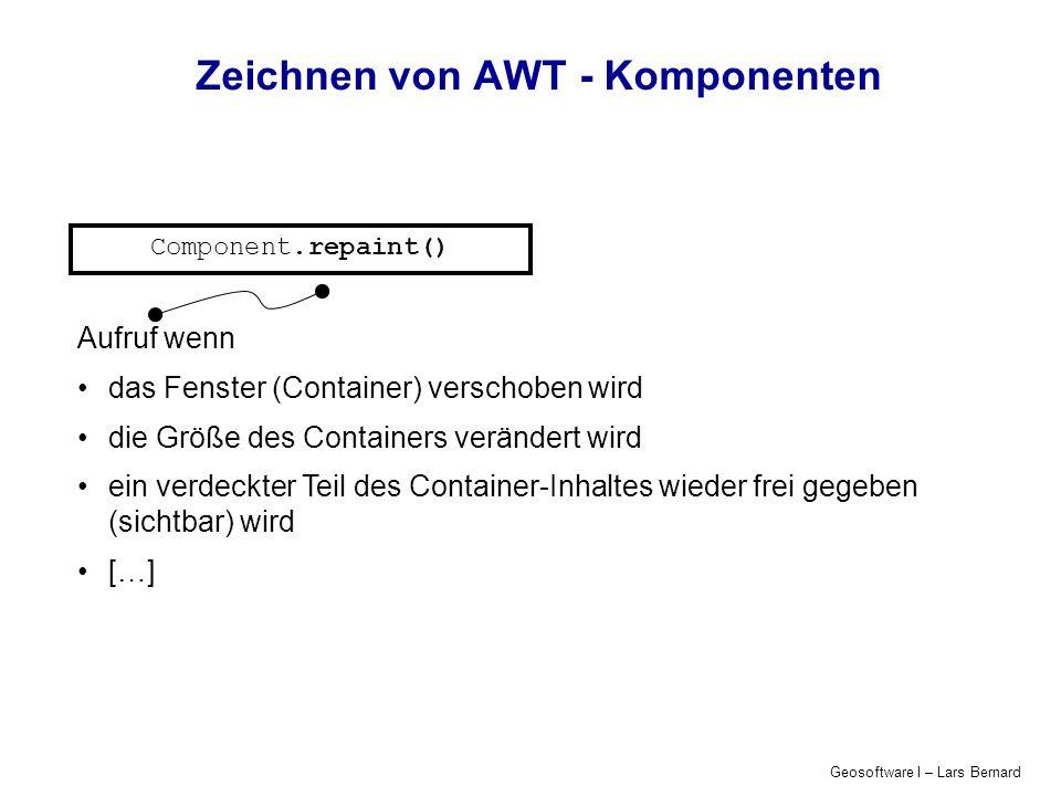 Geosoftware I – Lars Bernard Zeichnen von AWT - Komponenten Component.repaint() Component.getGraphics() Liefert spezialisierte Instanz der abstrakten Graphics-Klasse: Grafik-Kontext, in den gezeichnet werden kann repräsentiert ein universelles Ausgabegerät für Grafik und Schrift, Kapselt alle Zeichenoperationen: stellt Methoden zur Erzeugung von Linien, Füll- und Schriftelementen zur Verfügung, verwaltet die Zeichenfarbe und den Font in dem Textausgaben erfolgen sollen.
