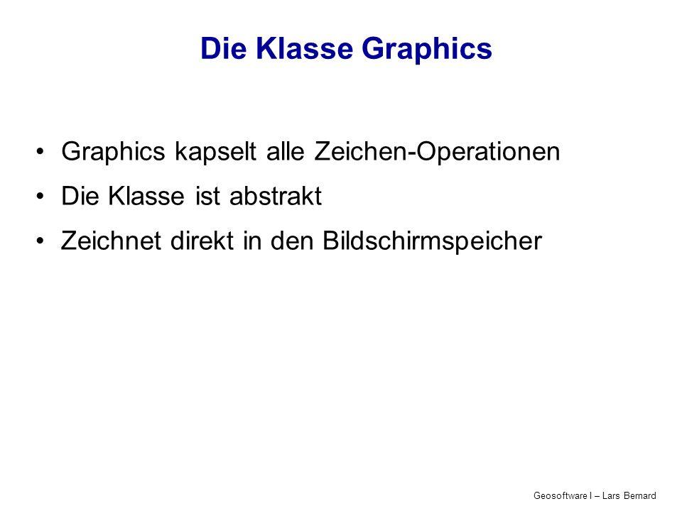 Geosoftware I – Lars Bernard Transformationen in Java Graphics2D Seit Java 1.2 verfügbar unterstützt affine Transformationen Rotationen Streckungen Verschiebungen erbt von Graphics In Java 1.2 können Graphics-Objekte in Graphics2D umgewandelt werden: Graphics2D g2D=(Graphics2D) g;