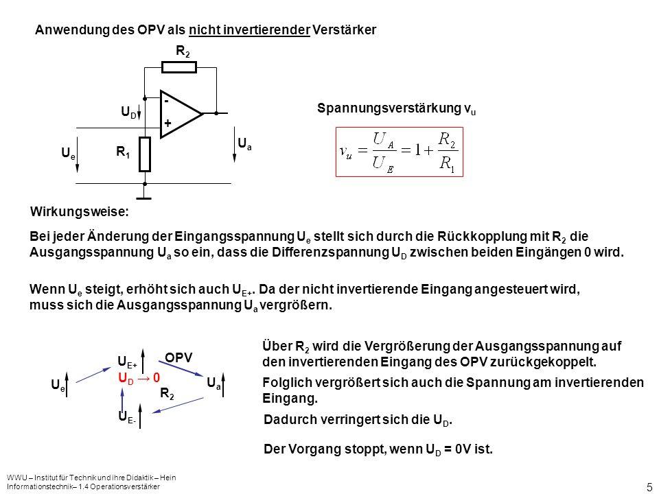 WWU – Institut für Technik und ihre Didaktik – Hein Informationstechnik– 1.4 Operationsverstärker 5 Anwendung des OPV als nicht invertierender Verstärker Spannungsverstärkung v u Bei jeder Änderung der Eingangsspannung U e stellt sich durch die Rückkopplung mit R 2 die Ausgangsspannung U a so ein, dass die Differenzspannung U D zwischen beiden Eingängen 0 wird.