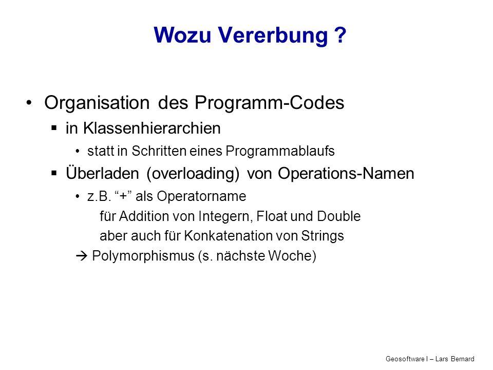 Geosoftware I – Lars Bernard Wozu Vererbung .