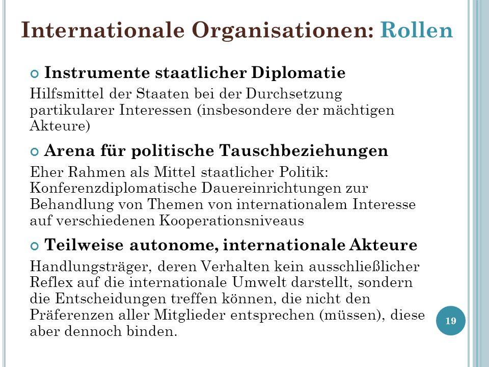 Internationale Organisationen: Rollen Instrumente staatlicher Diplomatie Hilfsmittel der Staaten bei der Durchsetzung partikularer Interessen (insbeso
