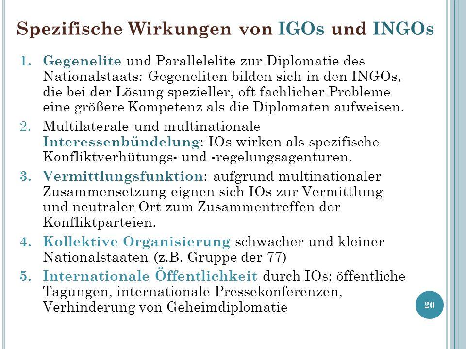 Spezifische Wirkungen von IGOs und INGOs 1. Gegenelite und Parallelelite zur Diplomatie des Nationalstaats: Gegeneliten bilden sich in den INGOs, die