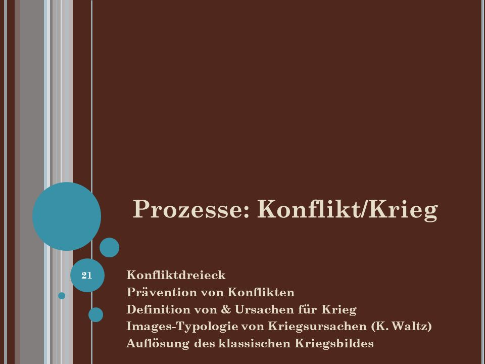 Prozesse: Konflikt/Krieg Konfliktdreieck Prävention von Konflikten Definition von & Ursachen für Krieg Images-Typologie von Kriegsursachen (K. Waltz)